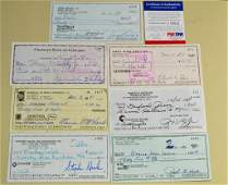7 Signed Checks Gaylord Perry Preacher Roe Etc
