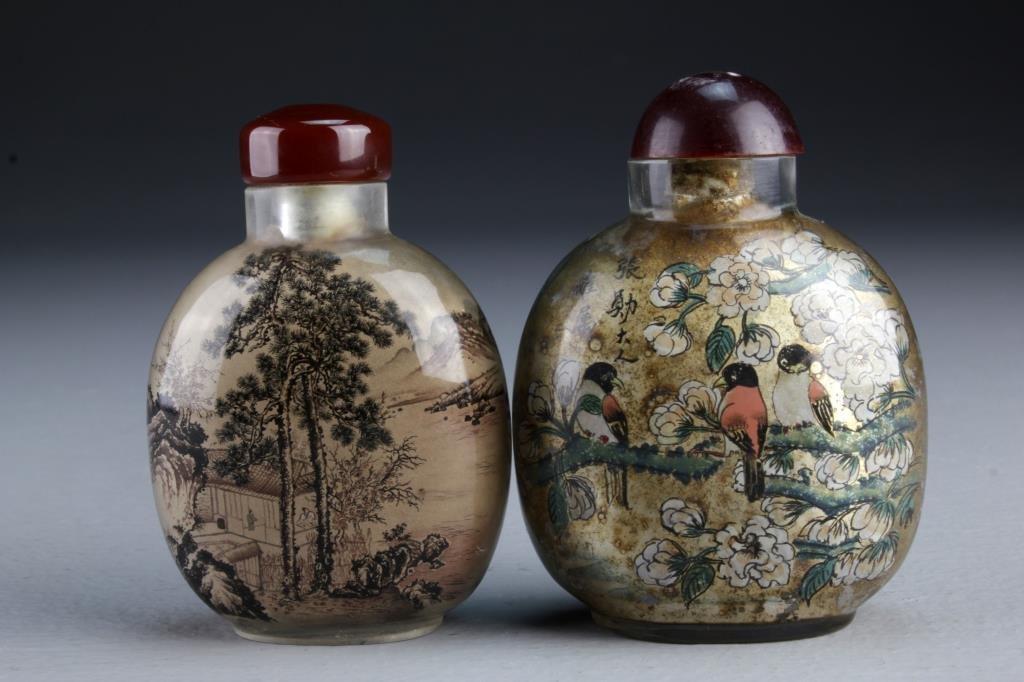 (2) Chinese Peking Glass Snuff Bottles
