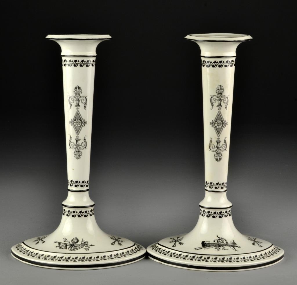 Pr. Mottahedeh Italian Porcelain Candlesticks