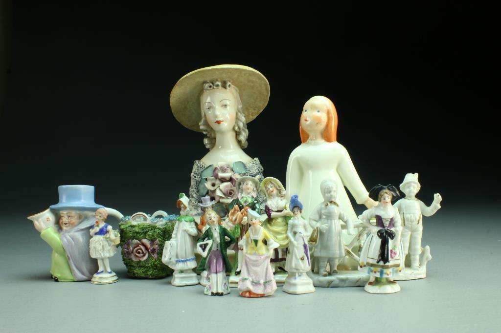 (14) Pcs Continental Porcelain Figurines