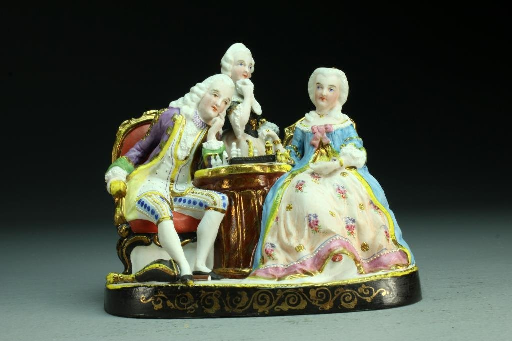 Dresden Style Bisque Porcelain Figural Group