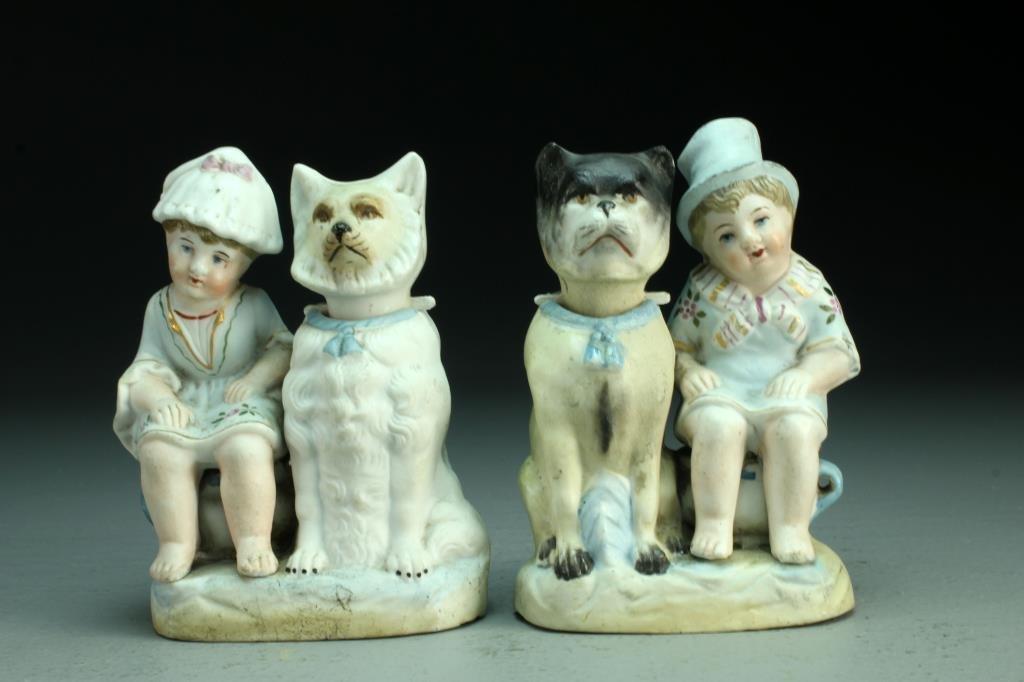 (2) Antique Continental Bisque Porcelain Nodders