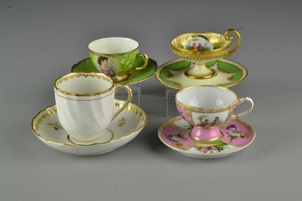 (4) Pcs  Fine European Porcelain Demitasse Cups