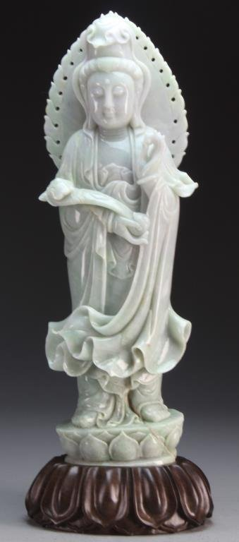 Large & Fine Chinese Carved Jadeite Statue