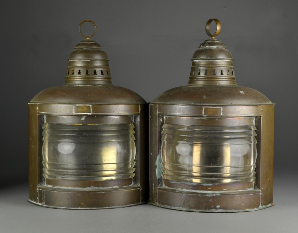 Pr. Antique Perko Brass and Glass Ship Lanterns