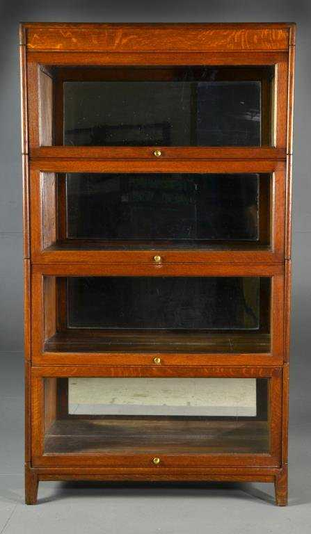 - Antique Four Stack Oak Lawyers Cabinet