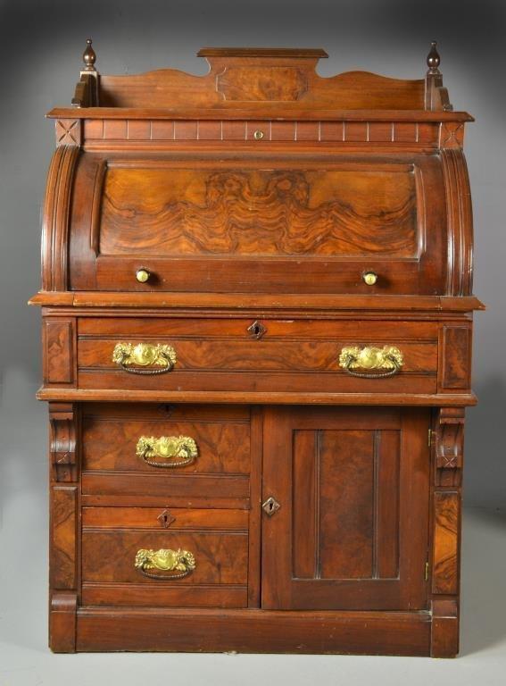 Antique Victorian Walnut Cylinder Roll Top Desk