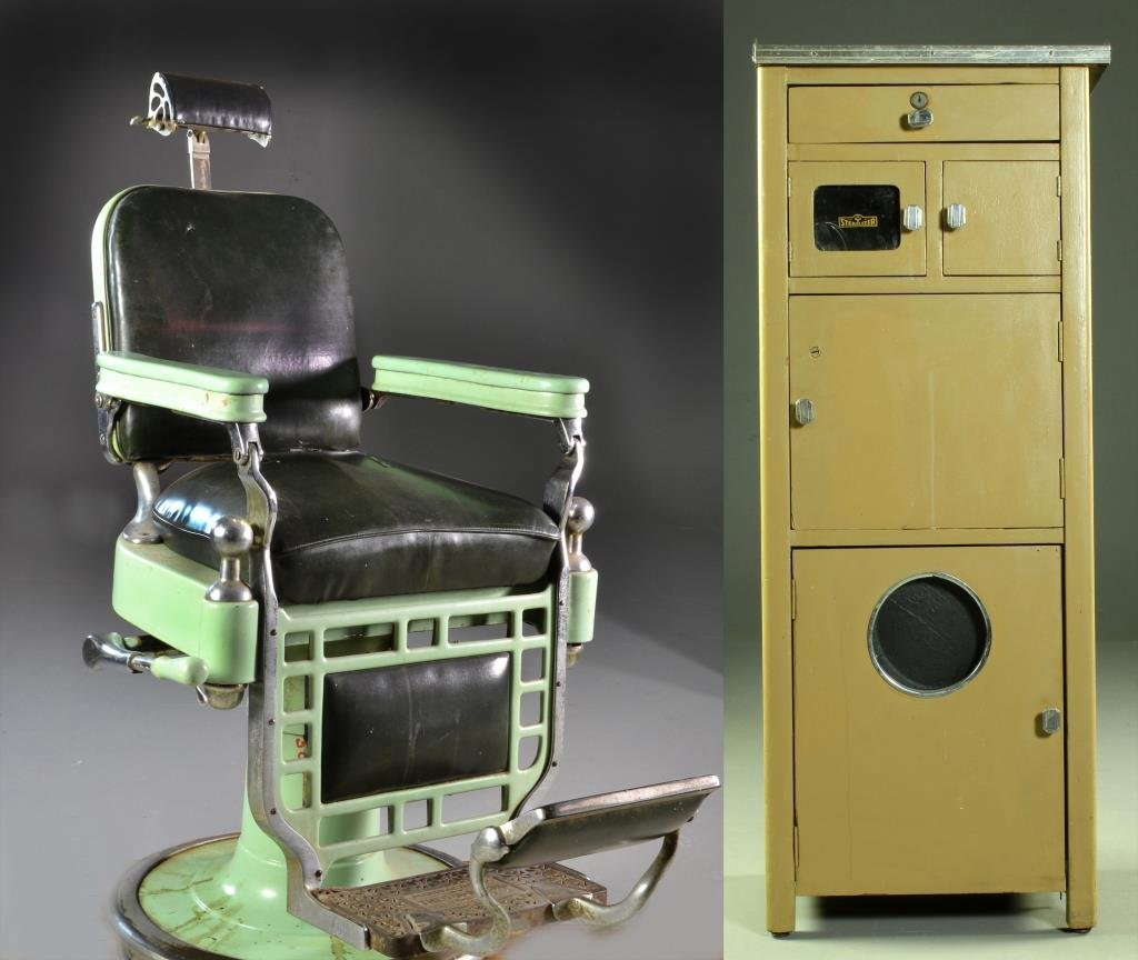 (2) Antique Theo A Kochs Barber Chair U0026 Cabinet