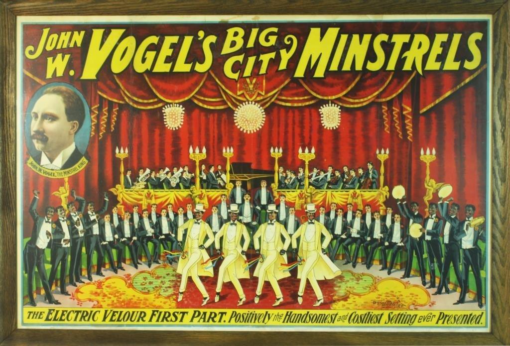 Rare John W. Vogel's Big City Minstrels Color Lith.
