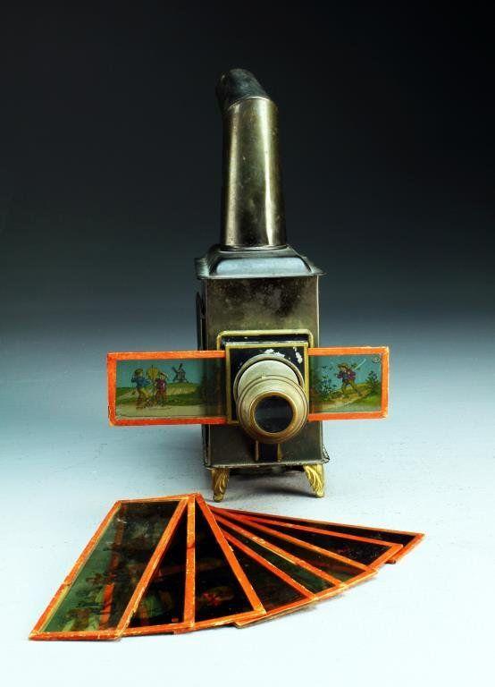 Antique E.P. Ernst Plank German Magic Lantern & Slides