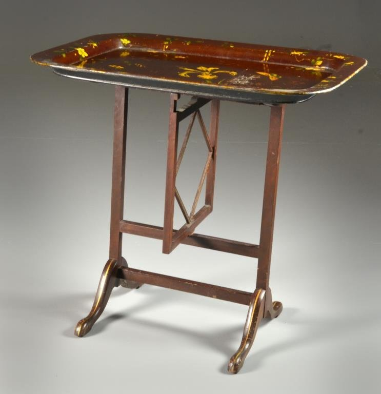 A Victorian Gilt Lacquer Tray Table