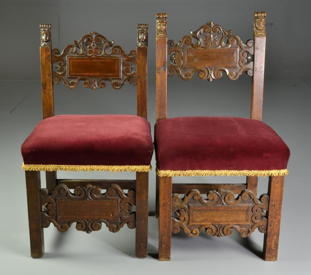 Near Pair 17th Century Italian Renassaince Side Chairs