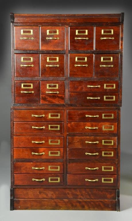 A Fine Antique Wood Stacking Filing Cabinet