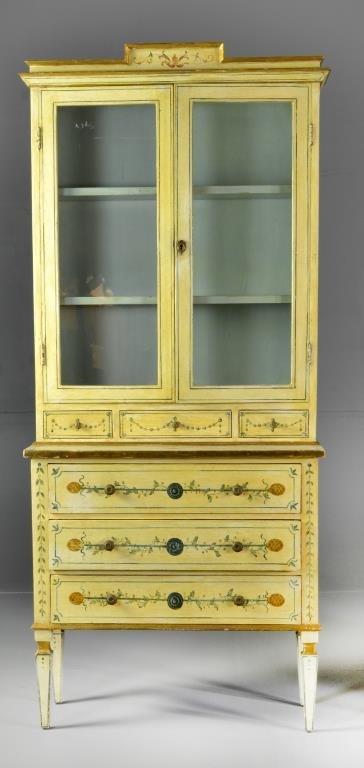 A Fine Italian Polychrome Painted Petite  Cabinet