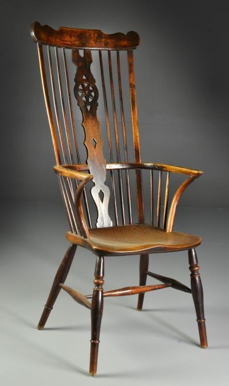 18th Century English Yew Wood Windsor Arm Chair