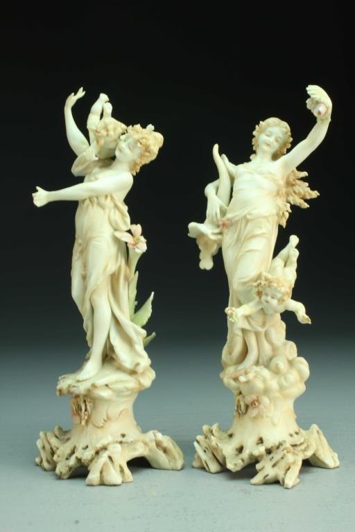 Pr. Fine Austrian Porcelain Allegorical Figures