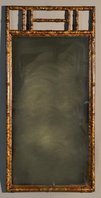 A Gilt Wood Bamboo Style Rectangular Mirror