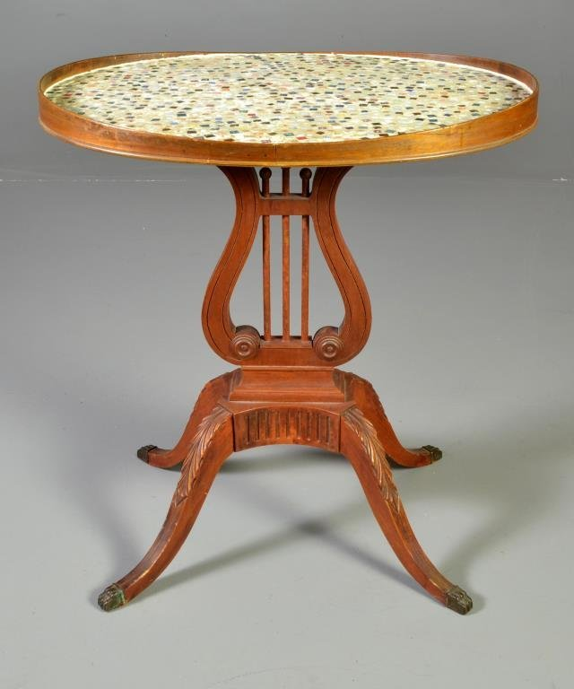 An American Mahogany Lyre Form Table