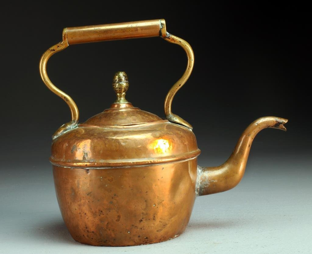 An American or Continental Copper Teapot 19th c