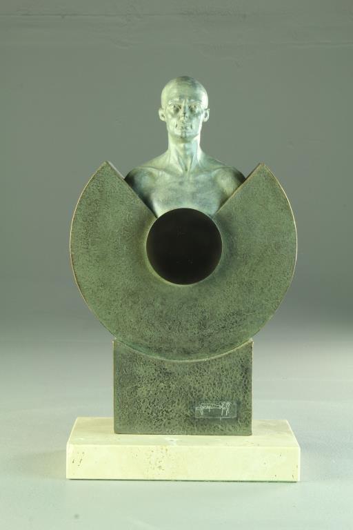 A Signed Modern Bronze Sculpture