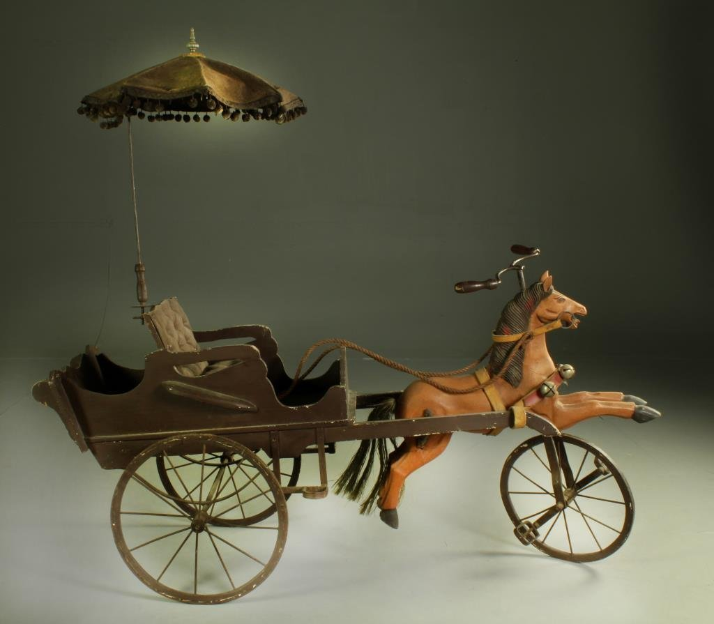 Reproduction Child's Horse & Buggy Pedal Toy