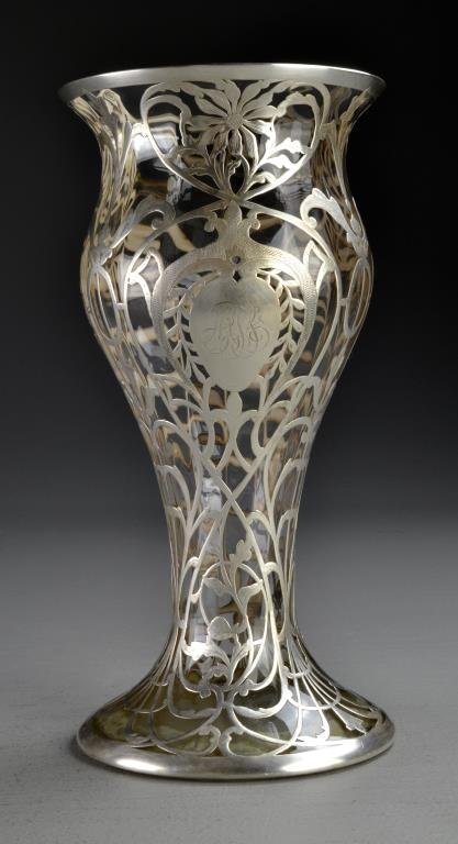 A Large Victorian Silver Mounted Glass Vase