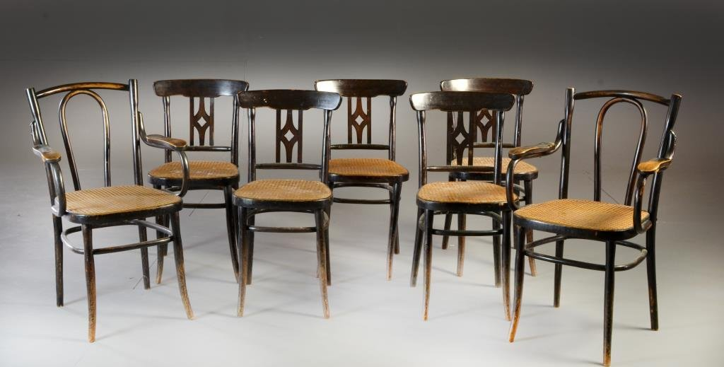 (7) Antique Bentwood & Cane Seat Arm Chairs