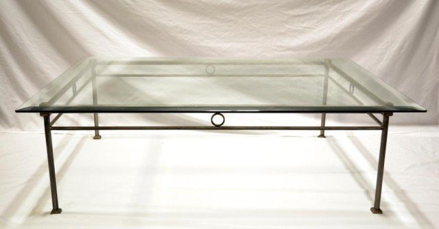 A Modern Glass Top and Metal Coffee Table