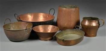 6 Antique Copper Utilitarian Wares