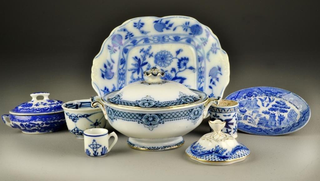 (8) Pcs. Flow Blue & Blue Willow Porcelain Table
