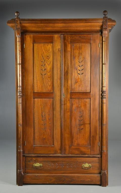 Antique Carved Wood Eastlake Wardrobe