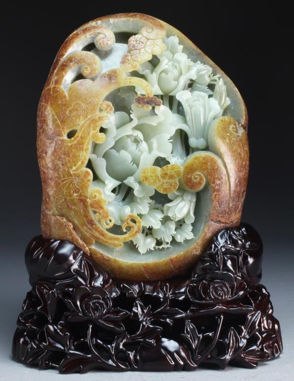 An Exceptional Chinese Carved Jade Boulder