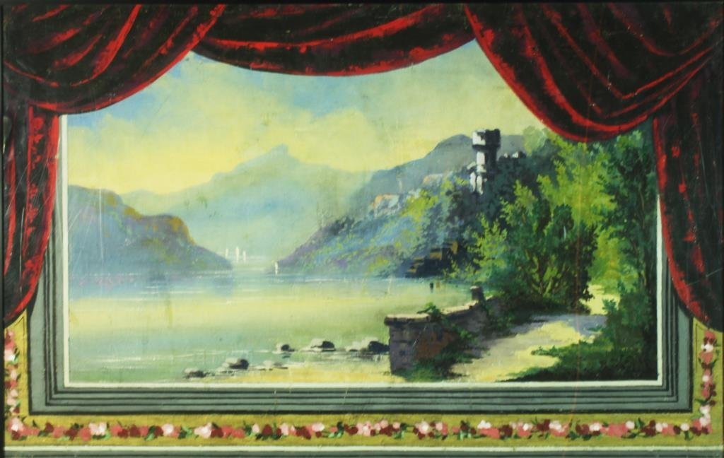 English Victorian Painted Puppet Theatre Backdrop