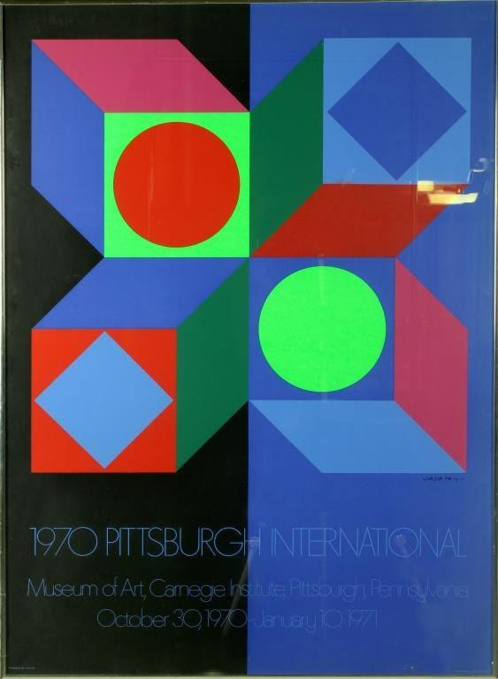 Victor Vasarely Original Framed Lithograph Poster