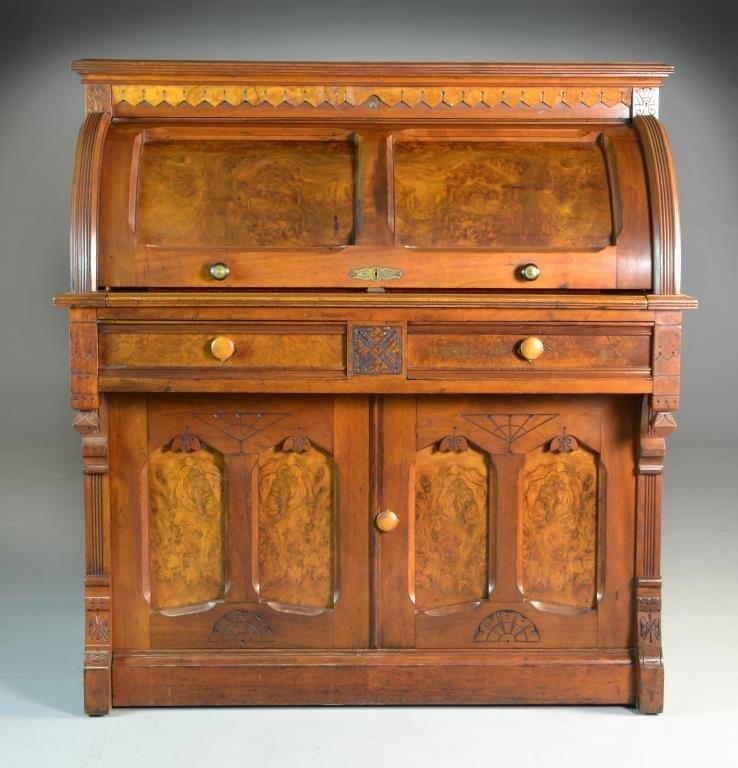 antique burlwood u0026 walnut eastlake roll top desk