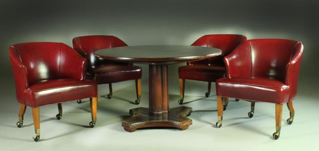(5) Pcs. Wood and Brass Game Table and Chairs