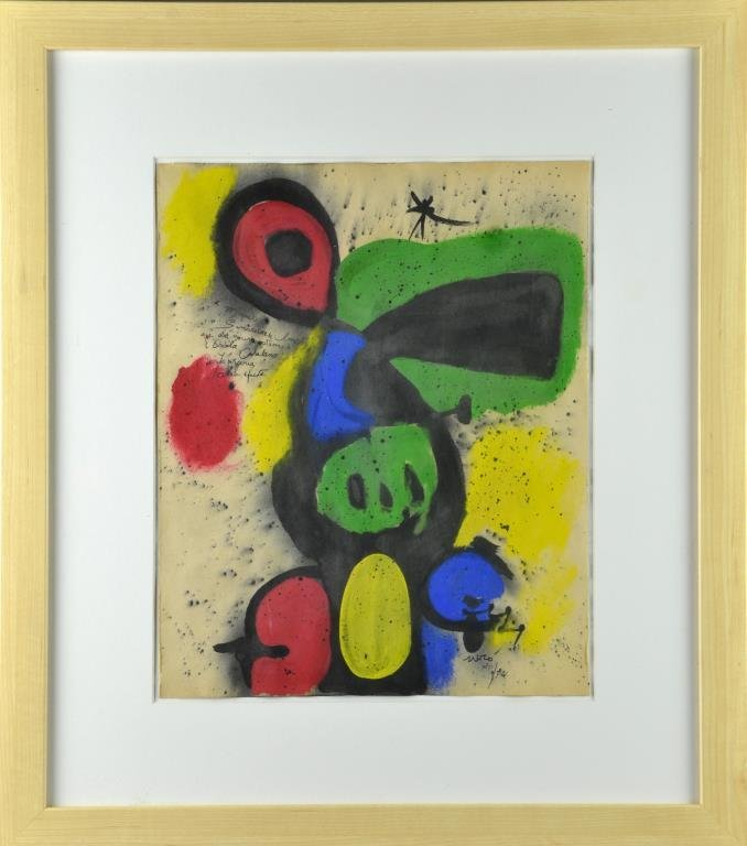 Manner of Joan Miro Watercolor & Gouache on Paper
