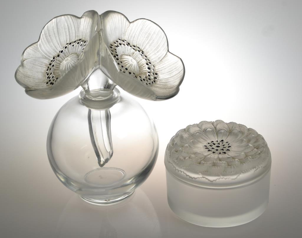 (2) Pcs. Lalique Glass Dresser Set