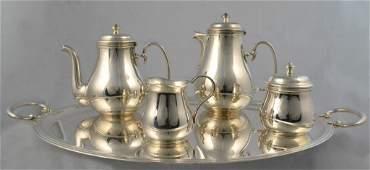 5 Piece Fench Silver Plate Tea  Coffee Service