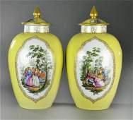 Pr Large Meissen Augustus Rex Porcelain Covered Urns