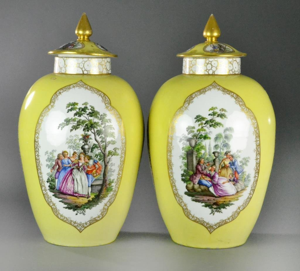 Pr. Large Meissen Augustus Rex Porcelain Covered Urns