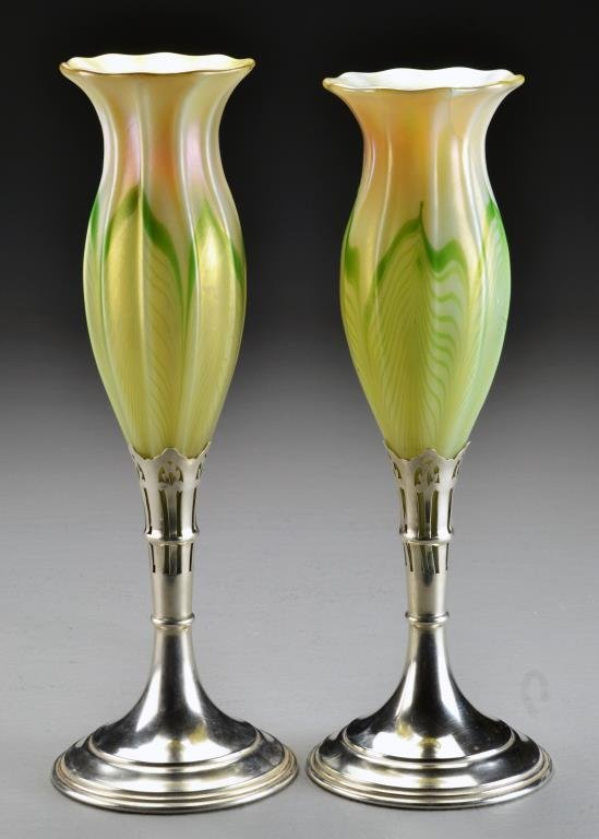 Pr. Tiffany Silver Mounted Glass Vases