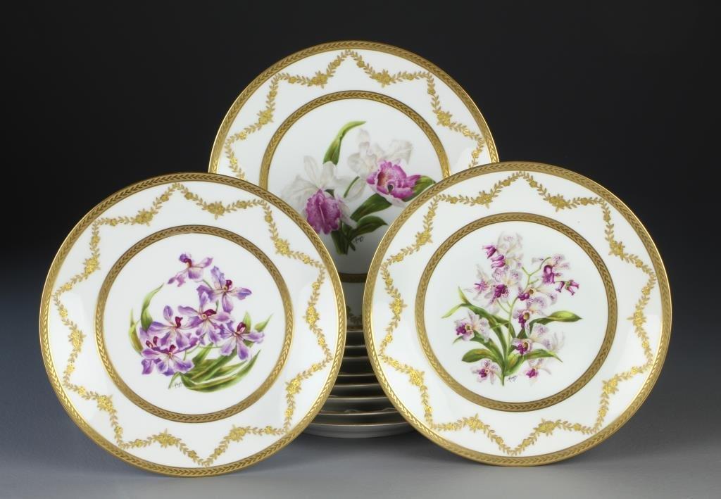 (12) Limoges Hand Painted Porcelain Dinner Plates
