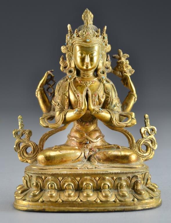 A Tibeto-Chinese Gilt Bronze Figure of Tara