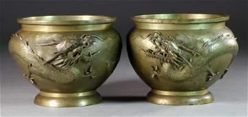 Pr Finely Cast Japanese Meiji Period Bronze Planters