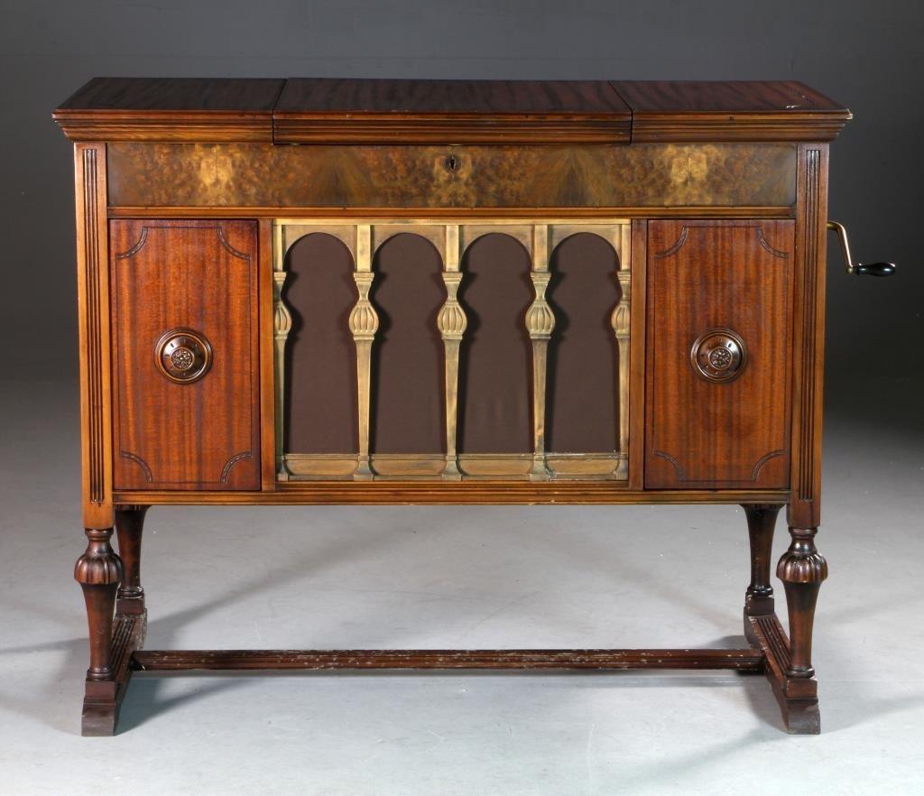 A Brunswick Model T- 139343 Phonograph In Cabinet
