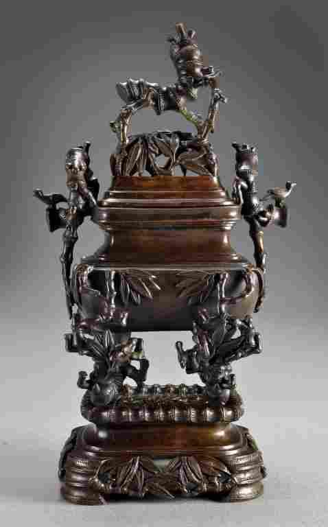 Chinese Three Piece Bronze Censer on Stand
