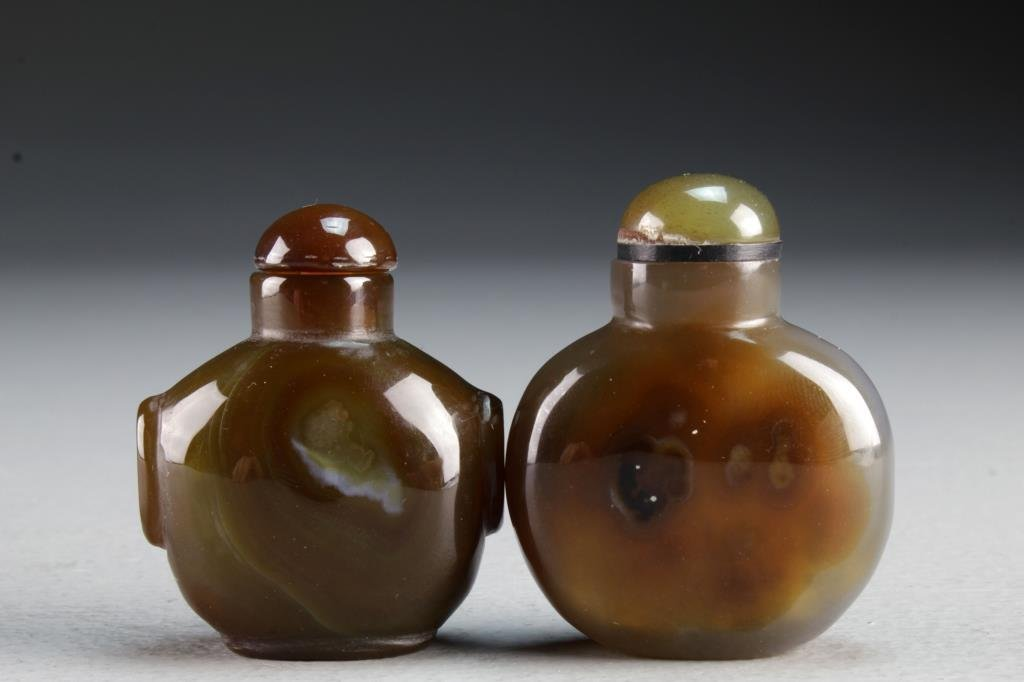 (2) Chinese Carved Agate Snuff Bottles