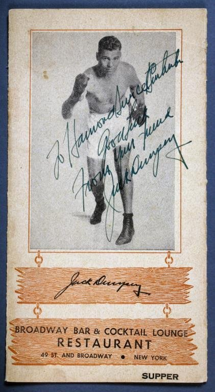 1940s Jack Dempsey Restaurant Menu Signed By Dempsey