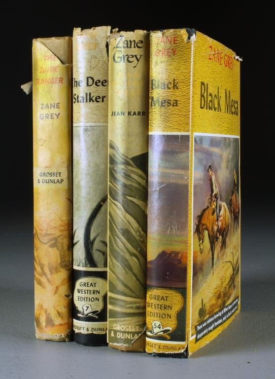 (4) Early Zane Grey Novels & Biography With Dust